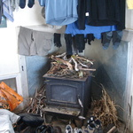 Drying in Jumbo Hutt - after a group effort of 'stick collecting' while Gini stoked the fire to a blaze