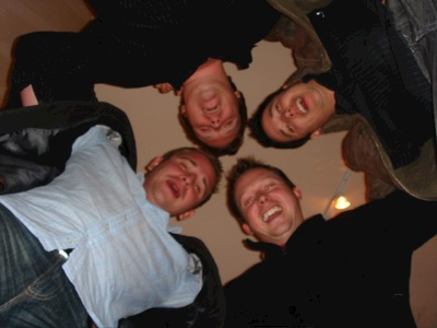 Josh, Derek, Tom, Hamish, being silly (clockwise)