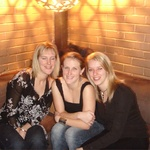 Nicky with her eyes closed, Sarah & Helen