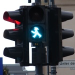 Funky pedestrian lights in East Berlin