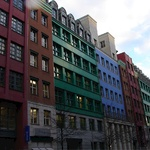 A colourful assortment of buildings - a change from the dreary grey