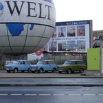 Communist Berlin creations - cars that crumple. Now made illegal but tourists can hire them for a cruise.