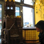 Gini in awe at one of the chocolate buildings inside this fantastic chocolate shop