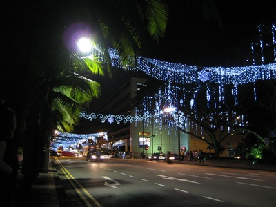 The lights covered the busy shopping street