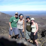 Lunch break after climbing devils staircase before we ascend Mount Ngauruhoe