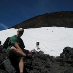 Nearing the crater, there was still a patch of snow to cross.