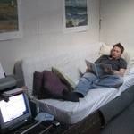 The tang mattress couch and Dukey the old imac (good for music and everything else :-) )