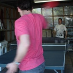 Tom and James battle it out at the table tennis table