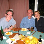 Richard, Peter and Pat at the Pecks place for din dins (and strange fruit!)