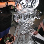 Vodka ice sculture, Gini's testing it out