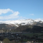 The view out towards the Wallace monument with the snow capped hills behind