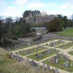 The well manicured graveyard with Stirling Castle in the background.