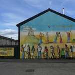 Mural based around the funding being cut for Education in the troubled areas
