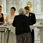 Signing the register to make it all official - Nat and Nige as witnesses