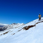 Traversing a black diamond trail on Treble Cone