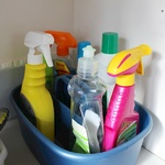 Cleaning products at the ready